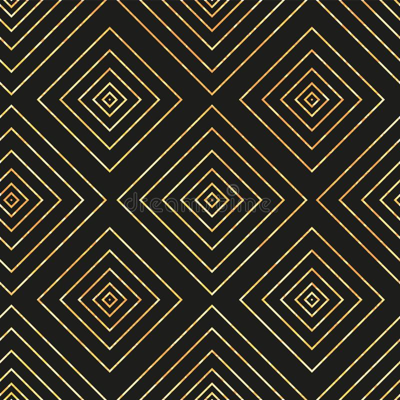 Modèle géométrique sans couture de vecteur avec le diamant d'or sur le fond noir illustration stock