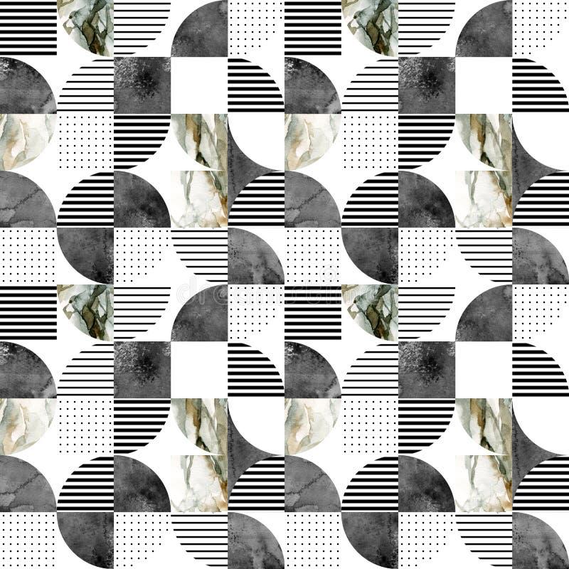 Modèle géométrique sans couture moderne : demi-cercles, cercles, places, grunge, marbre, textures d'aquarelle, griffonnages illustration libre de droits