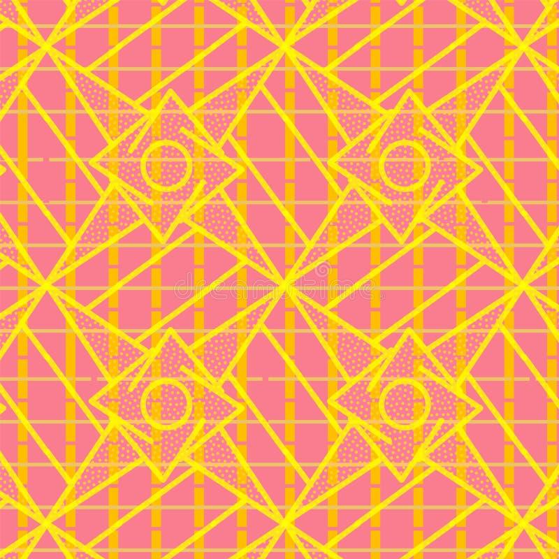 Modèle géométrique sans couture moderne rose et orange coloré illustration libre de droits