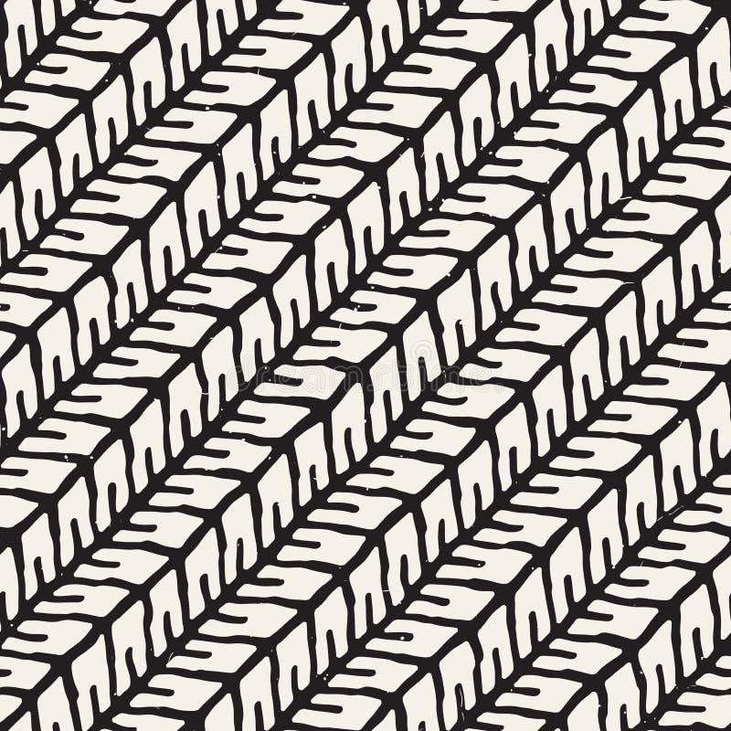 Modèle géométrique simple à l'encre Arrière-plan de touches noir et blanc monochrome Lignes diagonales manuscrites illustration libre de droits