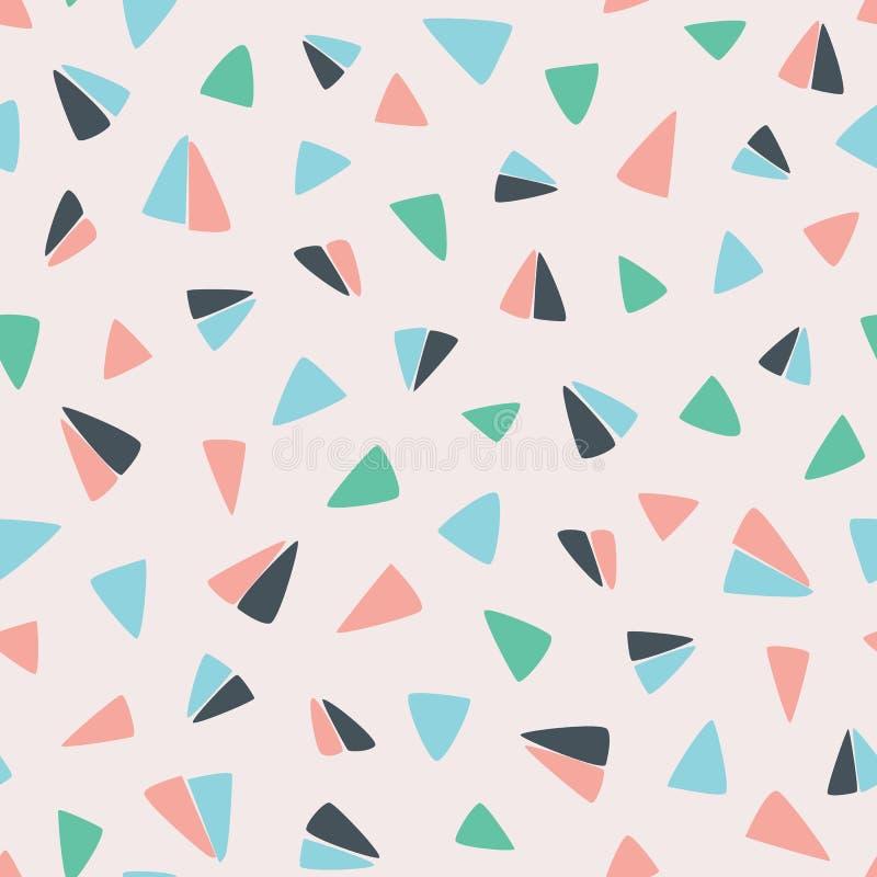 Modèle géométrique tiré par la main sans couture avec l'avion de papier de vol comme des triangles Conception extérieure de modèl illustration libre de droits