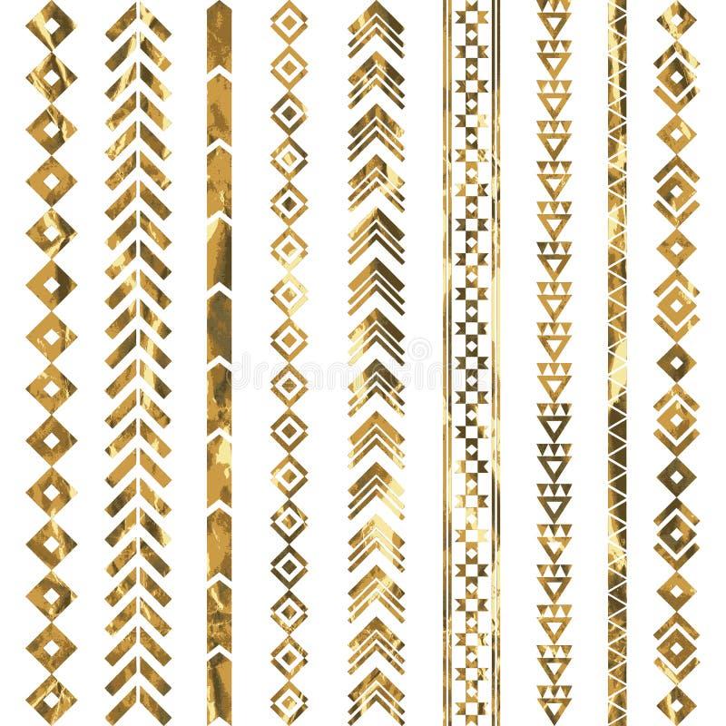Modèle géométrique tribal d'or illustration de vecteur