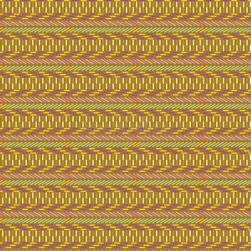 Modèle géométrique tribal sans couture coloré en brun, jaune, rouge et vert illustration de vecteur