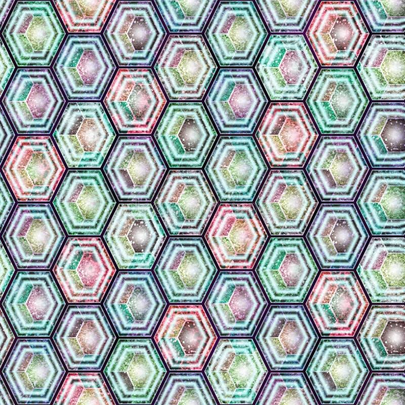 Modèle géométrique vif sans couture, hexagones colorés, nids d'abeilles illustration de vecteur