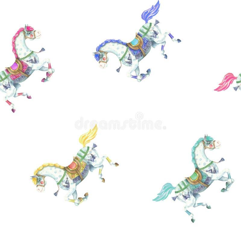 Modèle galopant de cheval de vintage d'aquarelle illustration stock