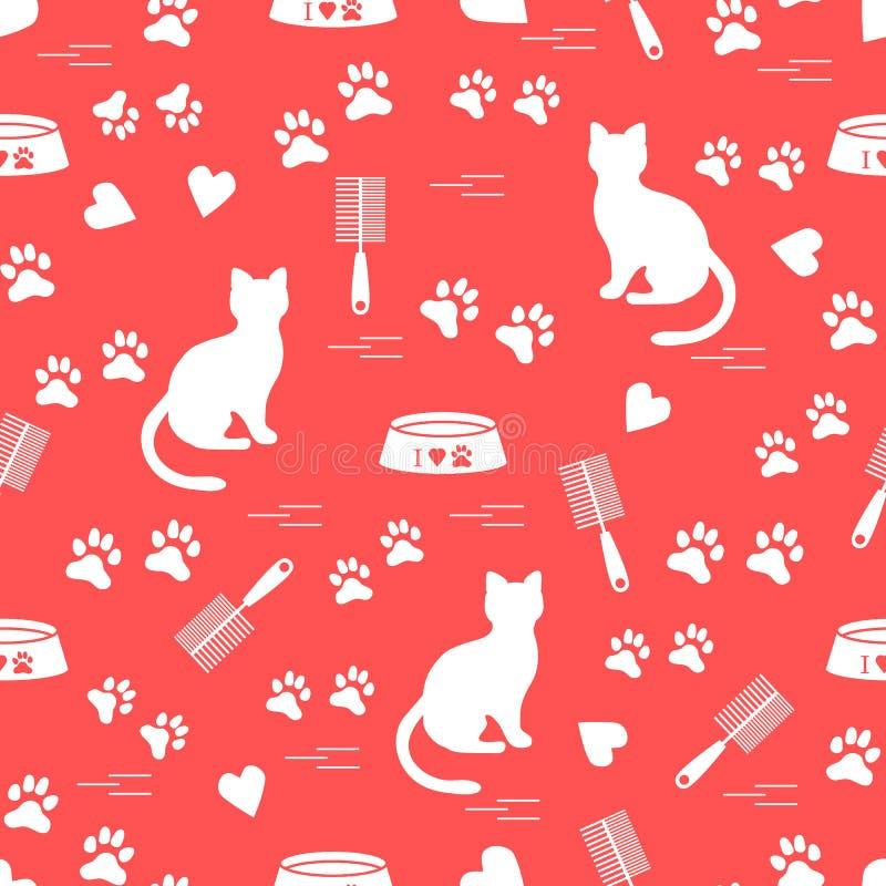 Modèle gentil de chat se reposant de silhouette, traces, coeurs, cuvette et illustration stock