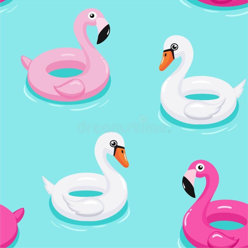 Modèle gonflable de flotteurs de piscine de flamant et de licorne Texture sans joint de vecteur illustration de vecteur
