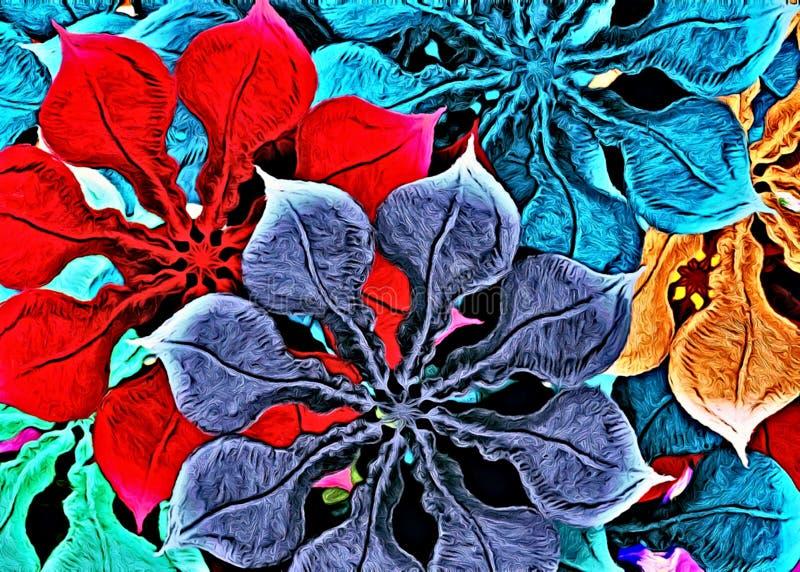 Modèle graphique de fond multicolore abstrait, autocollants floraux d'art de décor illustration libre de droits