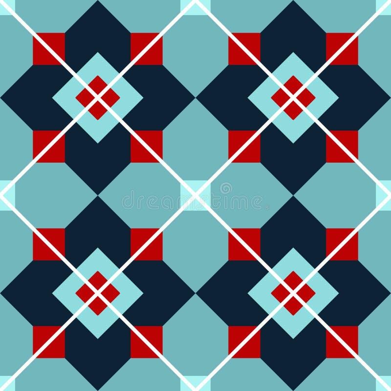 Modèle graphique des places de turquoise, rouges et bleues avec les lignes blanches illustration stock