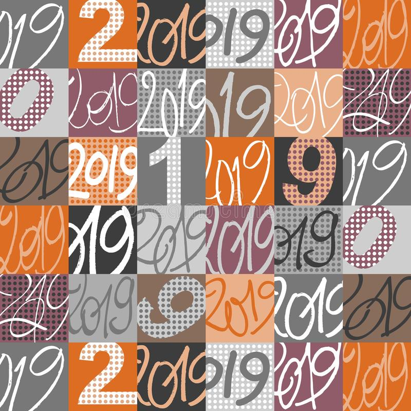 Modèle graphique fait avec le patchwork de 2019 signes illustration stock