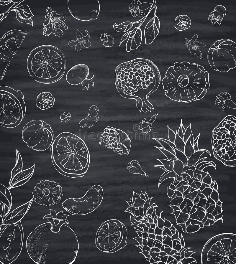 Modèle gris avec les fruits tropicaux blancs illustration libre de droits