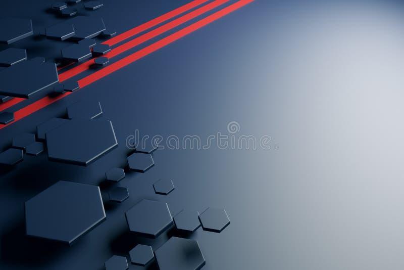 Modèle gris de nid d'abeilles et lignes rouges illustration de vecteur