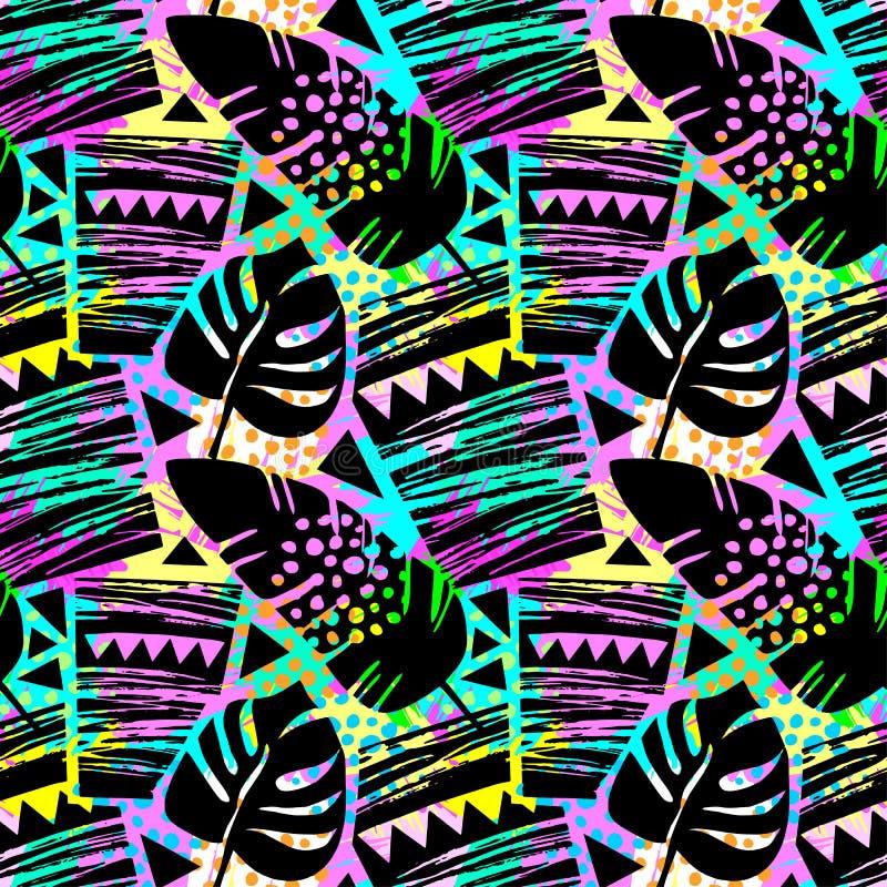 Modèle grunge approximatif tropical floral sans couture à la mode, De moderne illustration libre de droits
