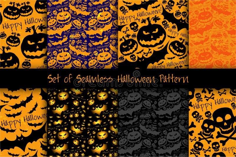 Modèle grunge de Halloween avec le crâne, le potiron et la batte illustration de vecteur
