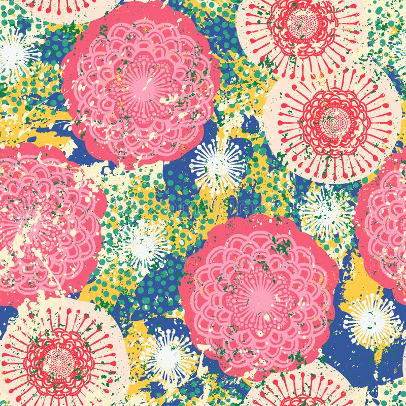 Modèle grunge floral de vecteur illustration de vecteur