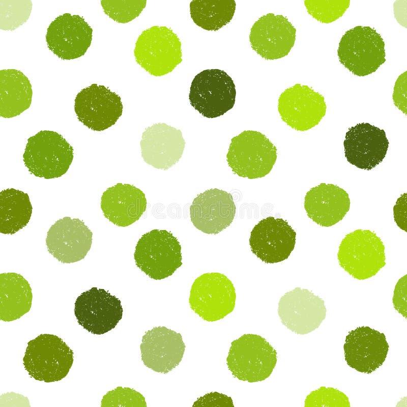 Modèle grunge sans couture avec les points de polka verts illustration stock