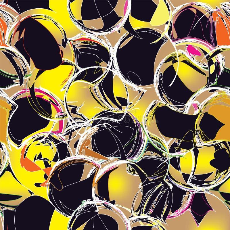 Modèle grunge sans couture de cercle dans des couleurs noires et jaunes illustration libre de droits