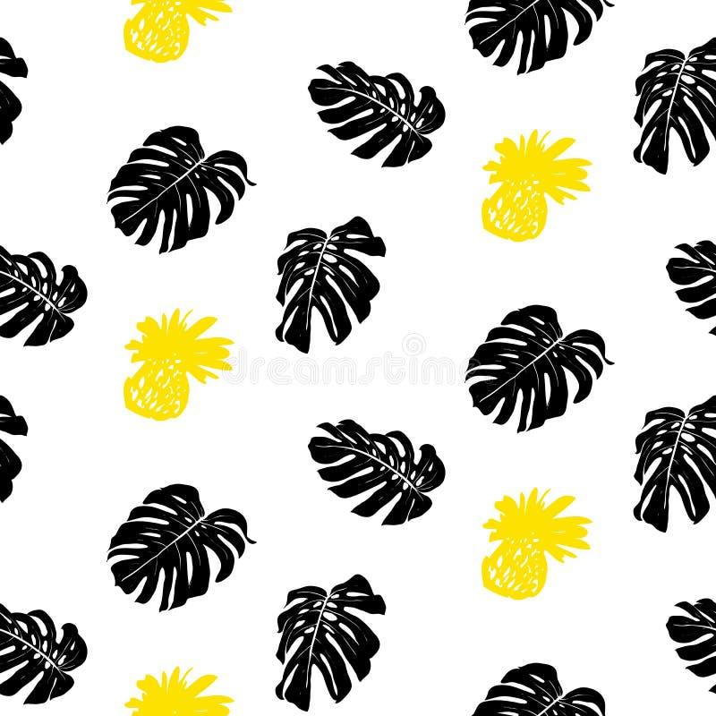 Modèle grunge tropical avec des fruits et des feuilles illustration de vecteur