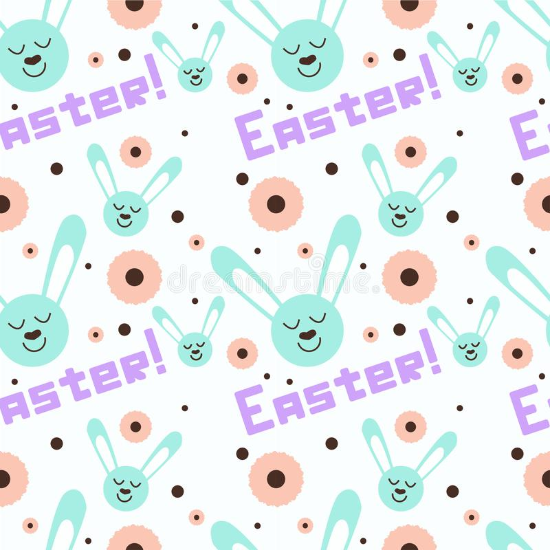Modèle heureux de Pâques avec les mots uniques et le lapin mignon illustration libre de droits