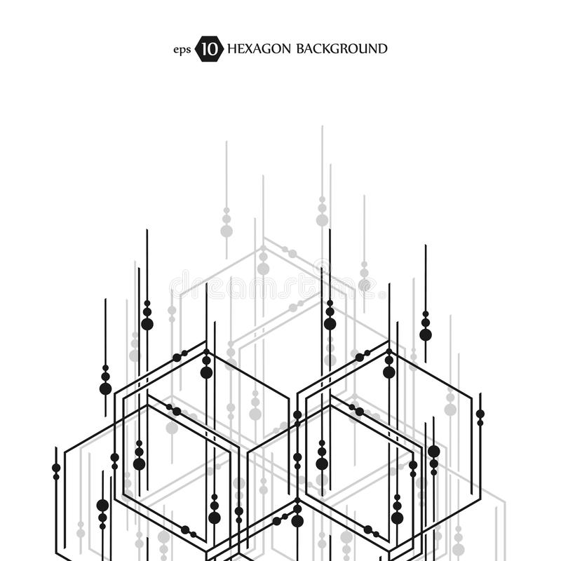 Modèle hexagonal d'affaires Recherche médicale scientifique Trellis de structure d'hexagones Fond abstrait géométrique illustration libre de droits