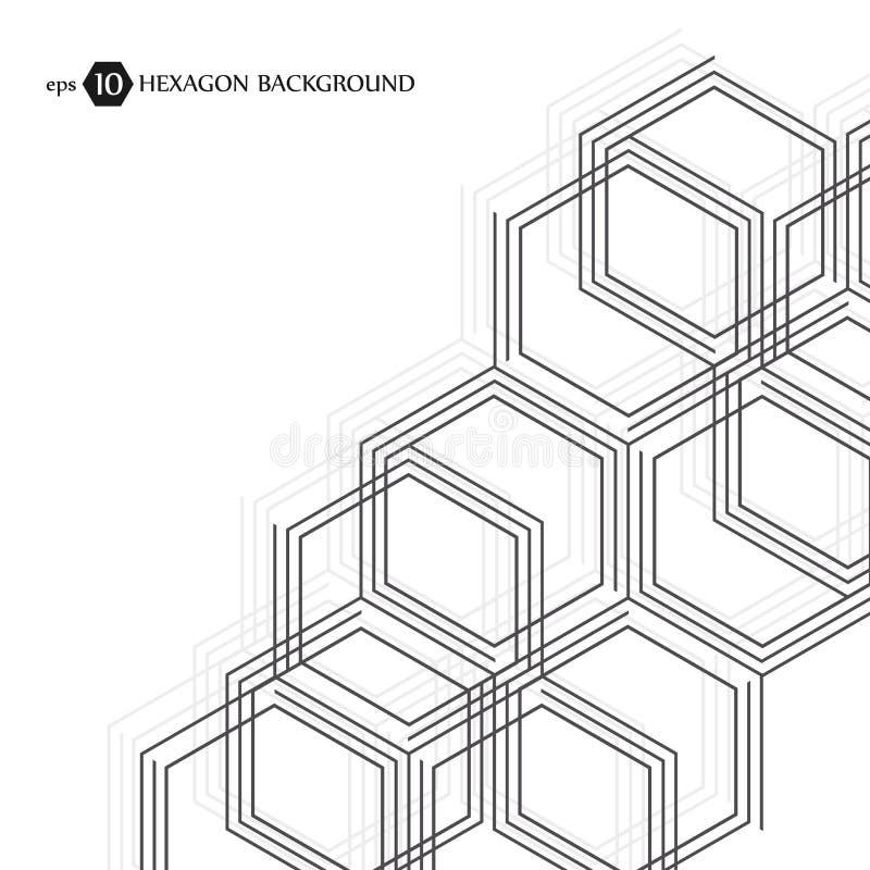 Modèle hexagonal d'affaires Recherche médicale scientifique Trellis de structure d'hexagones Fond abstrait géométrique illustration de vecteur