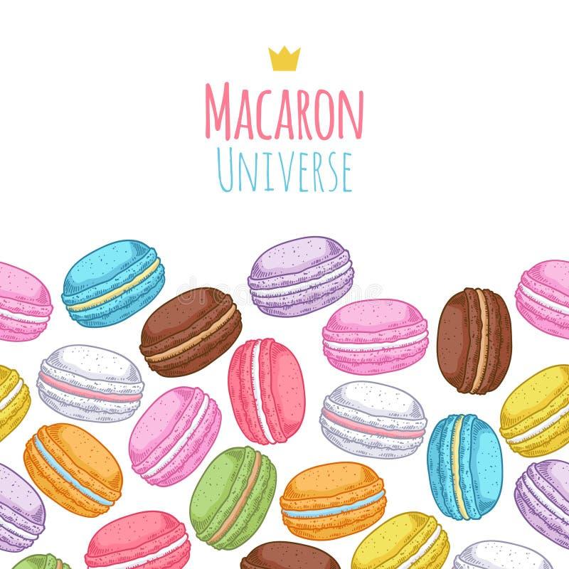 Modèle horiaontal assorti sans couture de macarons illustration stock