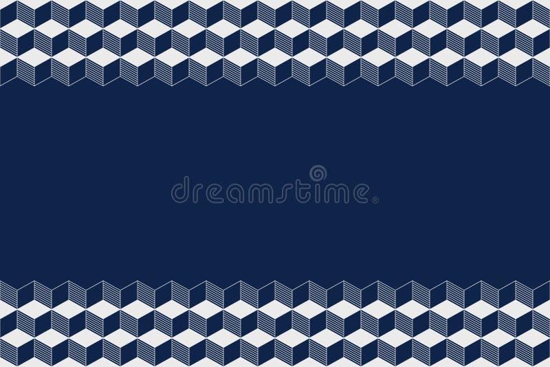 Modèle horizontal sans couture de frontière avec des cubes, losanges, d'isolement sur le fond bleu-foncé illustration de vecteur