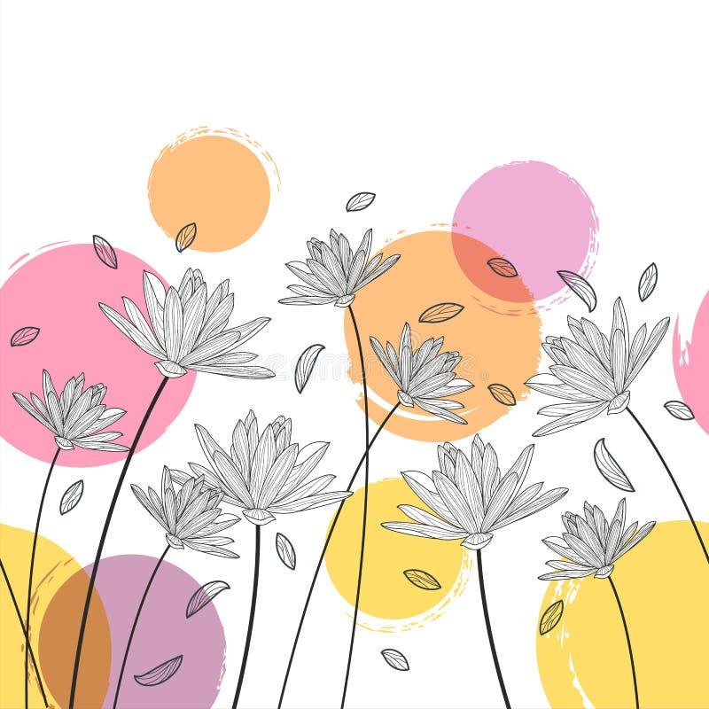 Modèle horizontal sans couture floral de vecteur Backg noir et blanc illustration stock