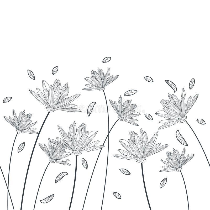 Modèle horizontal sans couture floral de vecteur Elega noir et blanc illustration libre de droits