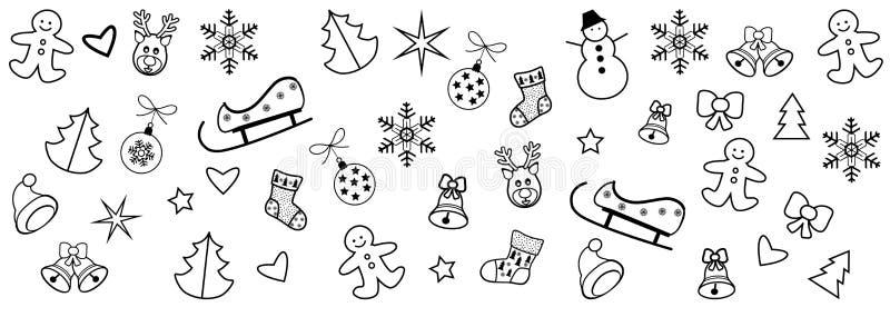 MODÈLE 2019 icônes et symboles de FRONTIÈRE de décoration de Noël de bonne année de vacances d'hiver illustration stock
