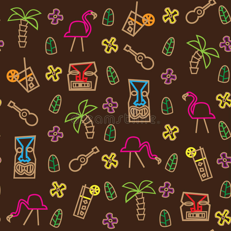 Modèle sans couture d'Hawaï de tiki illustration stock