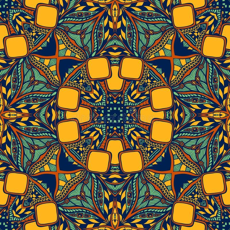 Modèle indien oriental asiatique de l'arabe sans couture dans le brun bleu orange illustration libre de droits