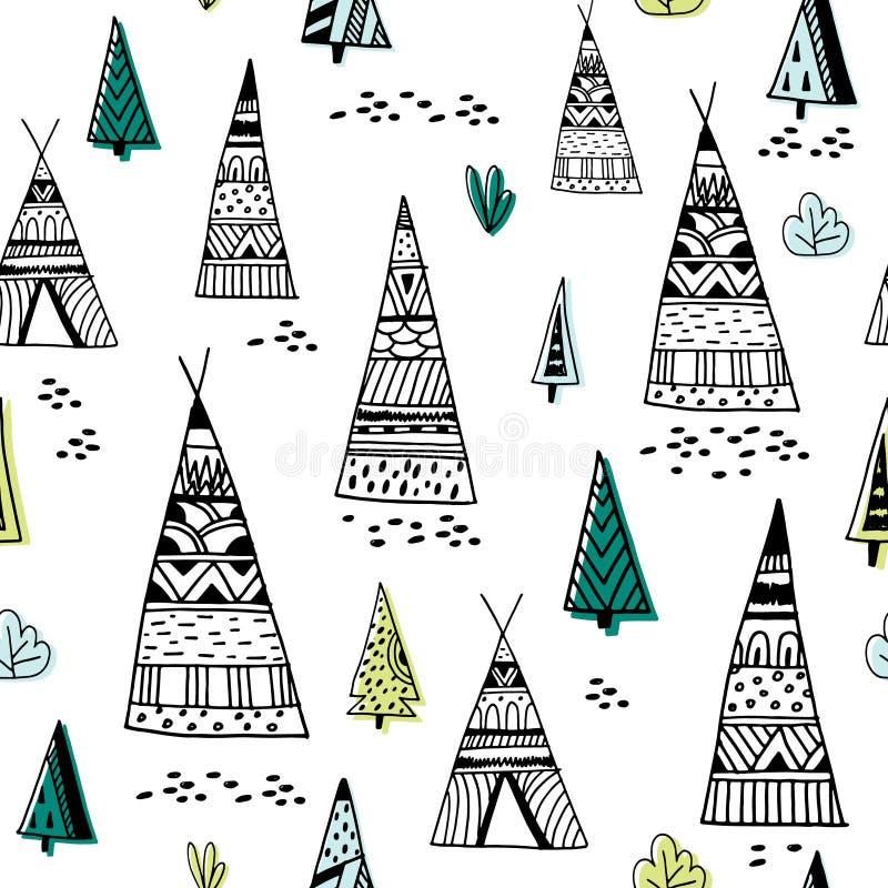 Modèle indien tribal de tipi Fond minimaliste puéril de griffonnage Illustration de vecteur illustration de vecteur