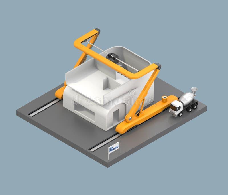 Modèle industriel de maison d'impression de l'imprimante 3D illustration stock