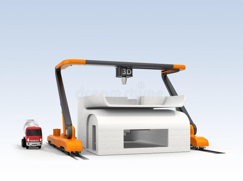 Modèle industriel de maison d'impression de l'imprimante 3D illustration de vecteur