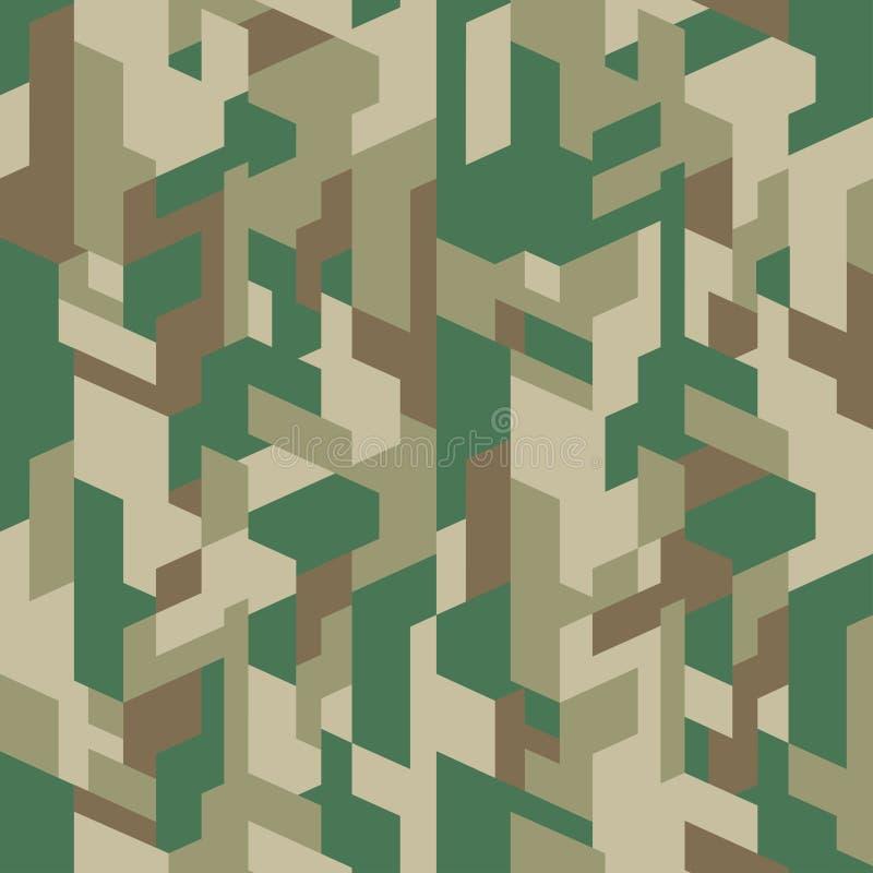 Modèle isométrique de camouflage Texture urbaine sans joint Fond géométrique de camo de couleur verte Conceptions d'impression de illustration de vecteur