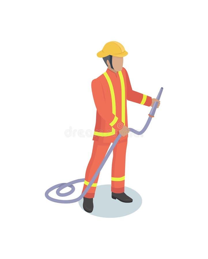 Modèle isométrique réaliste masculin Form de sapeur-pompier illustration libre de droits