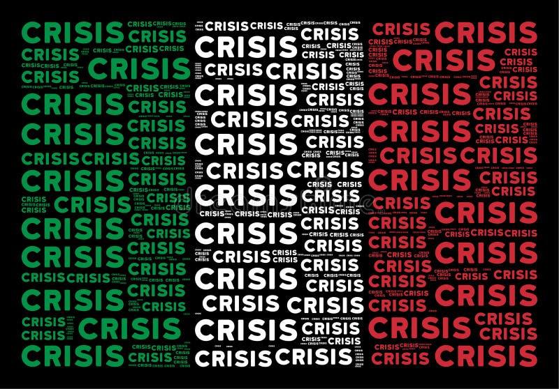 Modèle italien de drapeau des textes de crise illustration stock