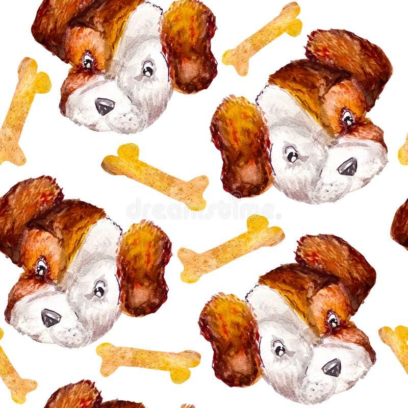 Modèle Jack Russell Terrier de chien avec l'enveloppe de cadeau d'os Style d'aquarelle à l'arrière-plan blanc illustration de vecteur