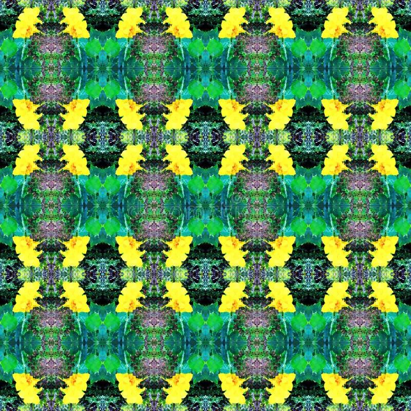 Modèle jaune de kaléidoscope de fleur images stock