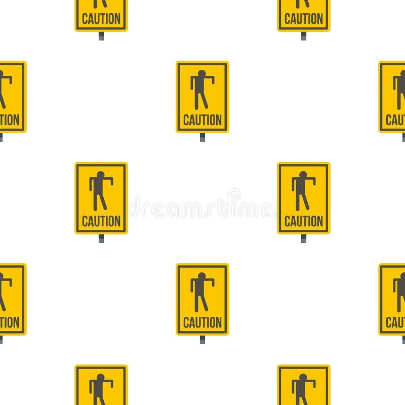 Modèle jaune de signe de zombi de précaution sans couture illustration stock