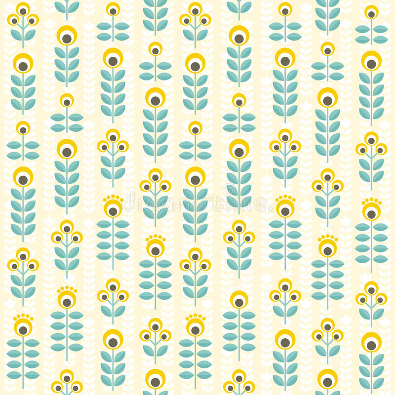 Modèle, jaune et sarcelle d'hiver floraux sans couture illustration stock