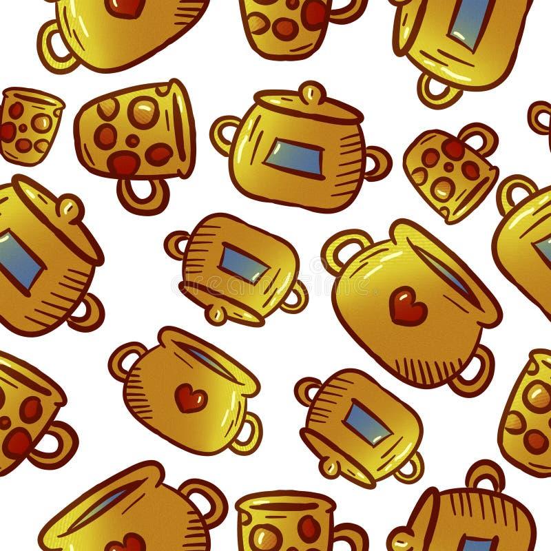 Modèle jaune mignon des illustrations de vaisselle de cuisine et d'ustensiles photographie stock