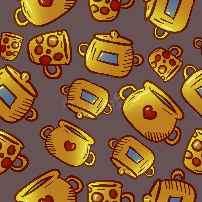 Modèle jaune mignon des illustrations de vaisselle de cuisine et d'ustensiles photo libre de droits