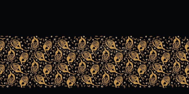 Modèle jeté en l'air floral tiré par la main de frontière Fond sans joint de vecteur Illustration stylisée de tige de fleur d'enc illustration libre de droits