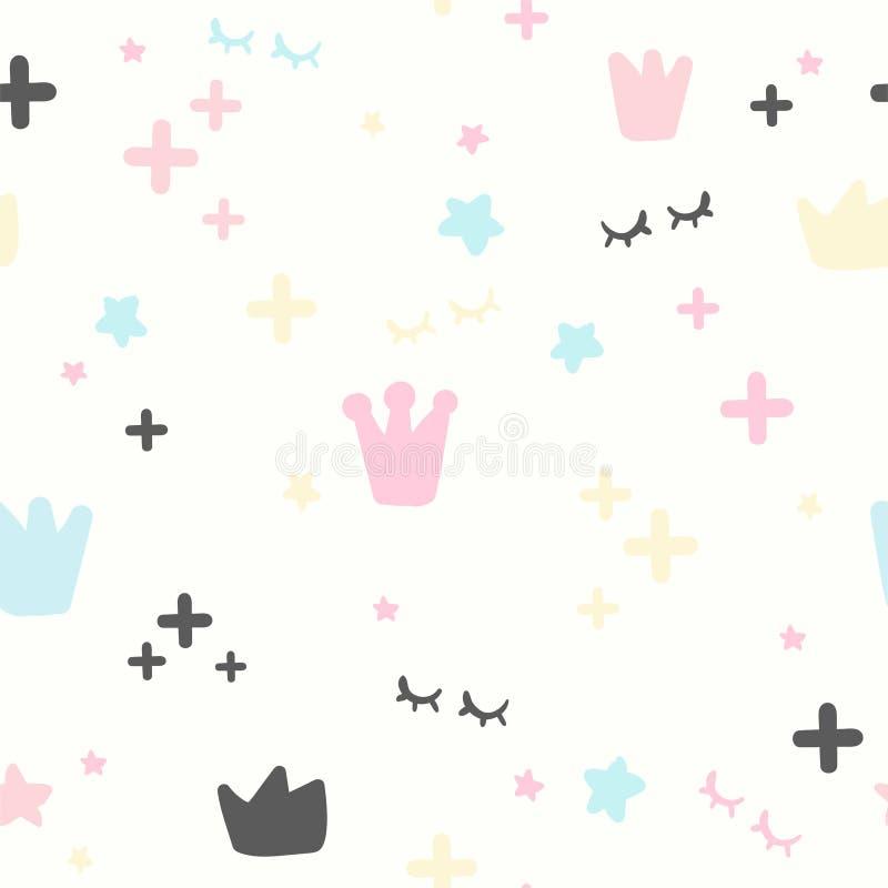 Modèle kiddish sans couture Rose et étoiles bleues, couronne, plus et yeux Conception moderne Girly d'illustration de bébé illustration stock