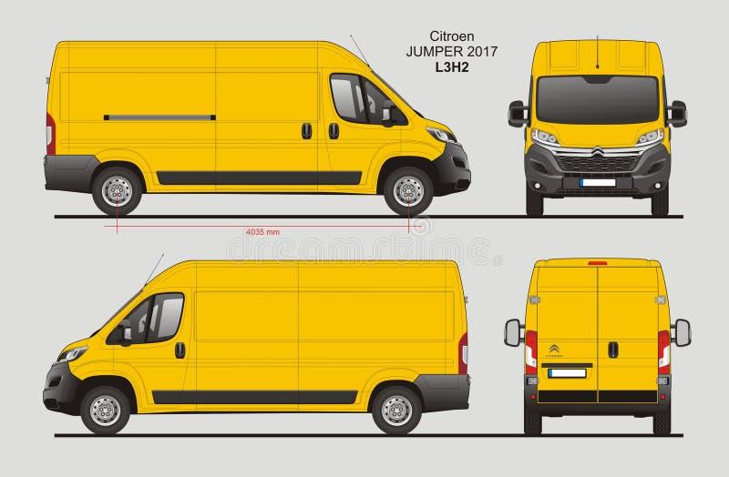 Modèle L3H2 de Citroen Jumper Cargo Van 2017 illustration stock