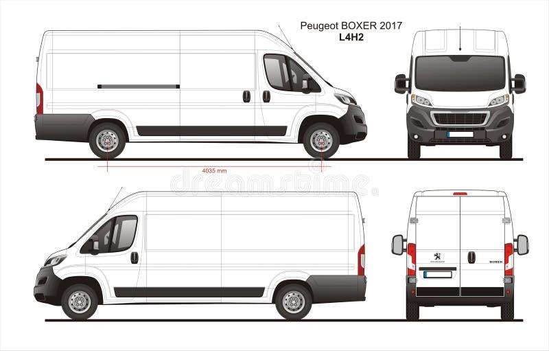 Modèle L4H2 de Van de livraison de cargaison de boxeur de Peugeot 2017 illustration stock