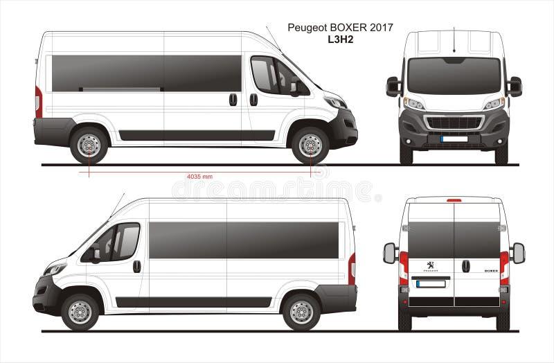 Modèle L3H2 de Van de passager de boxeur de Peugeot 2017 illustration libre de droits