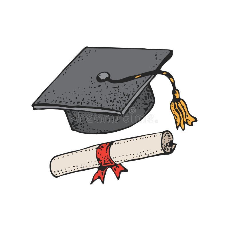 Modèle licencié de chapeau noir de bande dessinée avec le diplôme, chapeaux d'obtention du diplôme, chapeau scolaire carré, taloc illustration libre de droits